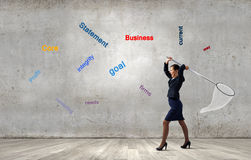 Bizneswoman z obręczem Zdjęcia Stock