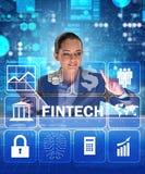 Bizneswoman z pastylką w pieniężnym technologii fintech concep Fotografia Stock