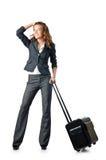 Bizneswoman z podróży skrzynka Zdjęcia Stock