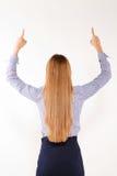 Bizneswoman z ręką i palcami odizolowywać odizolowywającymi fotografia royalty free