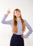 Bizneswoman z ręką i palcem palec   zdjęcia royalty free
