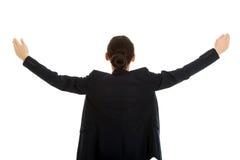 Bizneswoman z rękami szeroko otwarty Obrazy Royalty Free