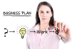 Bizneswoman z strategia planem być pomyślny w jego biznesowym, białym tle. Obrazy Royalty Free