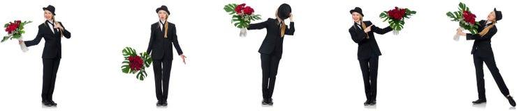 Bizneswoman z wi?zk? kwiaty odizolowywaj?cy na bielu obrazy stock