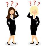 Bizneswoman z znakami zapytania ilustracji