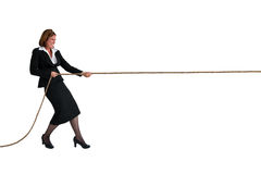 Bizneswoman zażarta rywalizacja odizolowywająca na bielu Obraz Royalty Free