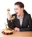 bizneswomanu agresywny telefon Zdjęcie Stock