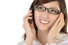 bizneswomanu azjatykci telefon komórkowy Zdjęcia Stock