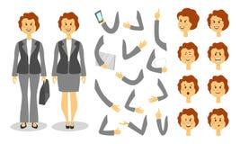 Bizneswomanu charakteru tworzenia set Ikony z różnymi typ twarze i włosiany styl, emocje, przód, tyły, strona ilustracji