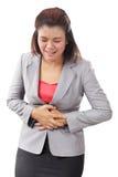 Bizneswomanu cierpienie od żołądka bólu, miesiączki drętwienie odizolowywa Zdjęcie Stock