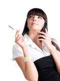 bizneswomanu długopisy ruchomego telefon Fotografia Royalty Free