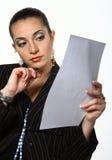 bizneswomanu dokumentu działanie Zdjęcia Stock