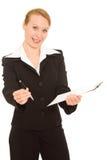bizneswomanu dokumentu znak Zdjęcie Stock