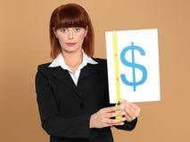bizneswomanu dolara pomiarowi szyldowi potomstwa Fotografia Stock