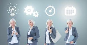 Bizneswomanu główkowanie w sekwenci z pomysłami i brainstorm proces ikonami Obrazy Stock