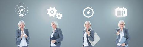 Bizneswomanu główkowanie w sekwenci z pomysłami i brainstorm proces ikonami Zdjęcie Royalty Free