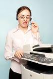 bizneswomanu gniewny copier zdjęcia royalty free