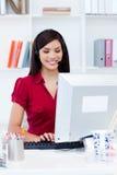 bizneswomanu komputeru słuchawki Obrazy Royalty Free
