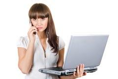 bizneswomanu laptop Obrazy Royalty Free