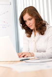 bizneswomanu laptopu biuro pomyślny Fotografia Stock