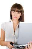 bizneswomanu laptopu portret Zdjęcia Stock