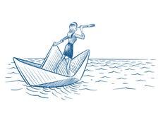 Bizneswomanu lider Kobieta z teleskopu żeglowaniem na papierowej łodzi Przyszłościowy kariera wzrok i przywódctwo wektorowy doodl ilustracja wektor
