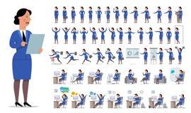 Bizneswomanu lub kierownika charakteru tworzenia duży set Różny v Fotografia Stock