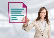 Bizneswomanu macania słowa dokumentu ikona Zdjęcie Royalty Free