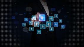 Bizneswomanu macanie łączy ludzi, używać ogólnospołecznego usługi sieciowe, technologii komunikacyjnej pojęcie ilustracja wektor