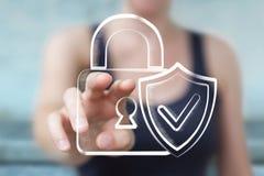 Bizneswomanu macanie i mienie pociągany ręcznie antivirus system Obraz Royalty Free