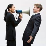 bizneswomanu megafonu używać Zdjęcia Stock