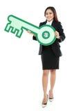 Bizneswomanu mienia znak klucz Zdjęcia Stock