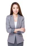 bizneswomanu odosobniony portreta biel Obraz Royalty Free