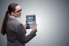 Bizneswomanu okładzinowy dylemat kupienie versus wynajmowanie obrazy stock