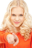 bizneswomanu palec jej target704_0_ Zdjęcia Royalty Free