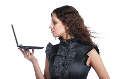 bizneswomanu piękny laptop obraz royalty free