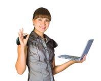 bizneswomanu piękny laptop Zdjęcie Stock