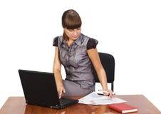 bizneswomanu piękny laptop Obraz Stock