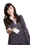 bizneswomanu pieniądze Obrazy Royalty Free