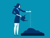 Bizneswomanu podlewania i nasiewania ziarna Pojęcie biznes ilustracja wektor