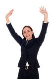 bizneswomanu podniesioną uzbrojony Fotografia Royalty Free