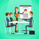 Bizneswomanu przedstawienia wykresu grupy ludzie biznesu ilustracji