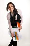 bizneswomanu rozochocony dokumentów target1721_1_ Zdjęcia Stock