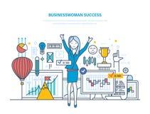 Bizneswomanu sukces Zarządzanie, osiągnięcie pozytywny wynik, przyrost w karierze ilustracja wektor