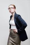 bizneswomanu szkieł portreta target1552_0_ Zdjęcia Stock
