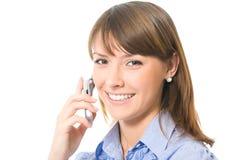 bizneswomanu telefon komórkowy obraz royalty free