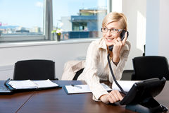bizneswomanu telefonu target107_0_ Obrazy Stock