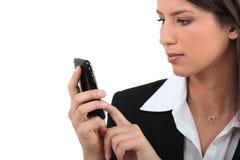 bizneswomanu wiszącej ozdoby tekst Fotografia Stock