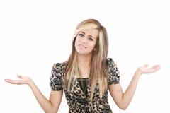 bizneswomanu zamieszanie gestykuluje ręki ona zdjęcie stock