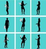 Bizneswomany, czarne sylwetki ilustracji